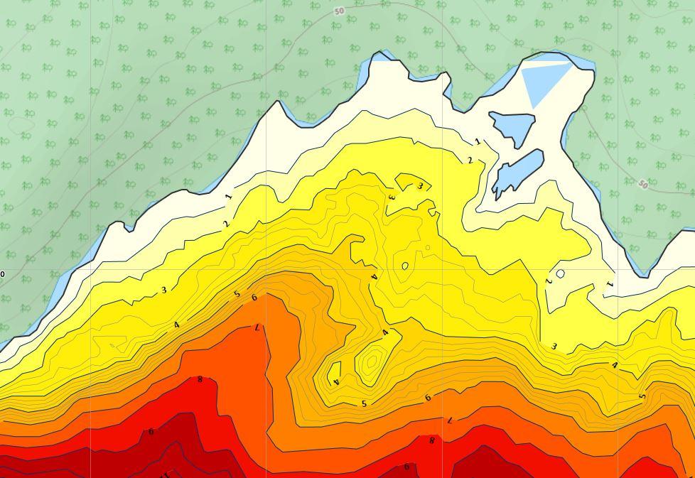 Eller mer tydlig presentation av djupkurvorna med färger och iso-linjer.