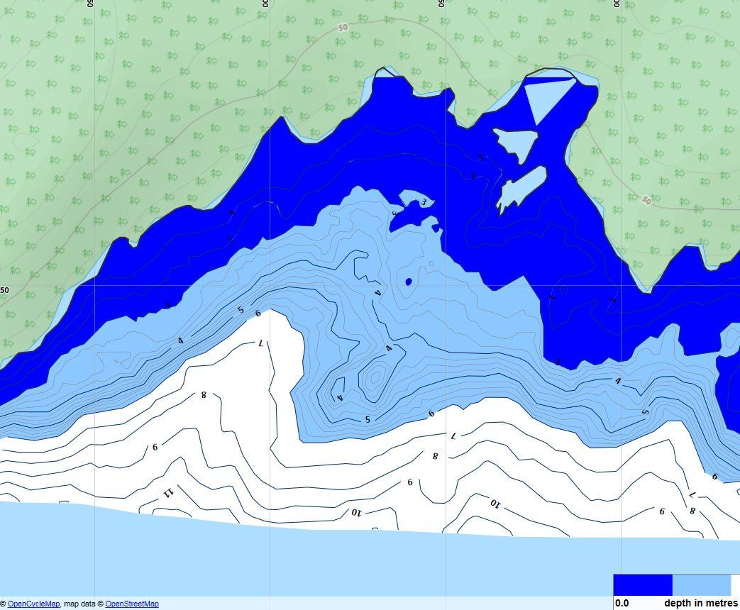 Sjökort presenterat med mörkblå 0-3 meter och ljusblå 3-6 meter som i de gamla sjökorten. Kan anpassas efter kundens önskemål