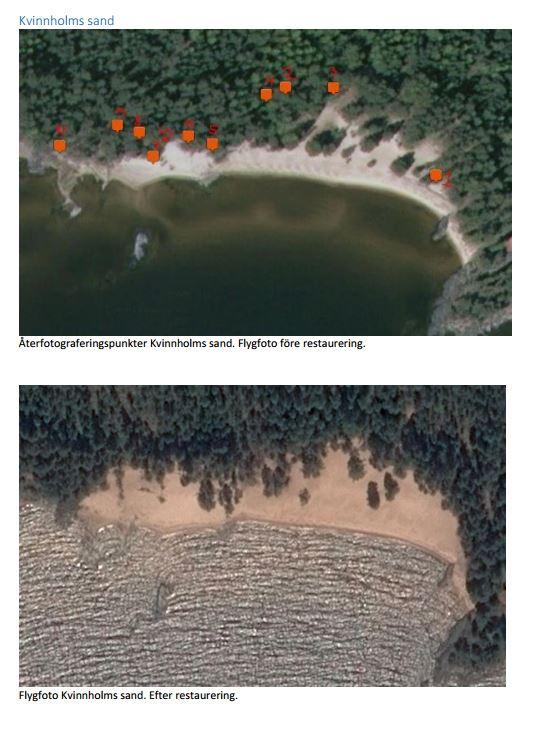 Flygfoto från 2008 och 2015 (efter restaurering) på Kvinnholms sand.